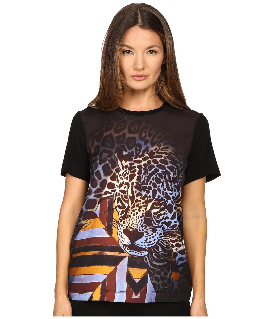 Just Cavalli - Leopard/Geo Print Tee w/ Silk Panel (Multi) Women's Blouse