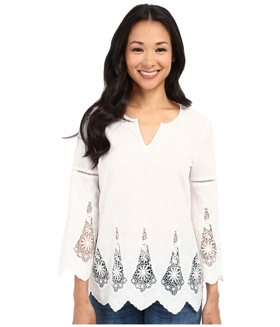 NYDJ Petite - Petite Embroidered Eyelet Tunic (Sugar) Women's Blouse