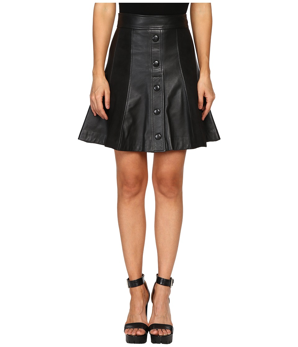 Just Cavalli - Suede/Leather Panel Snap Front Skirt (Black) Women's Skirt