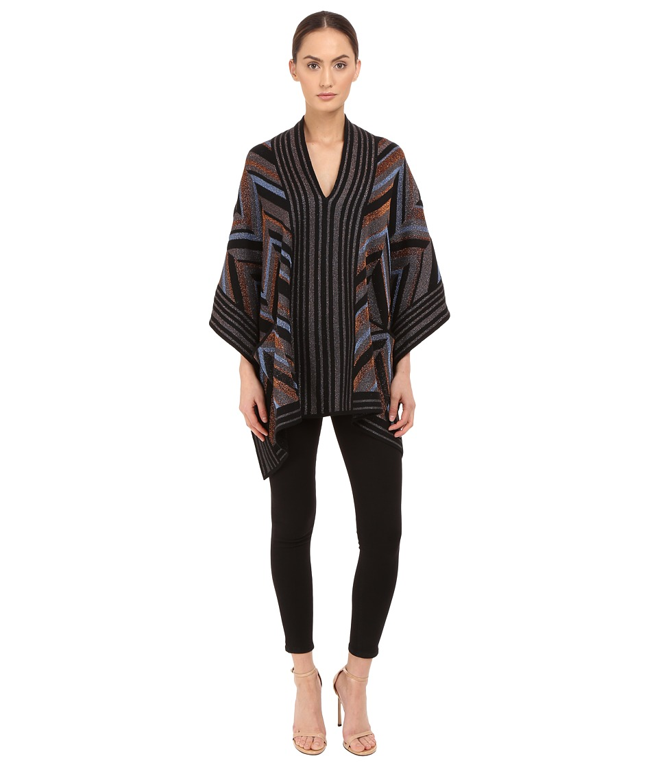 Just Cavalli - Lurex Knit Chevron Poncho (Black/Brown) Women's Coat