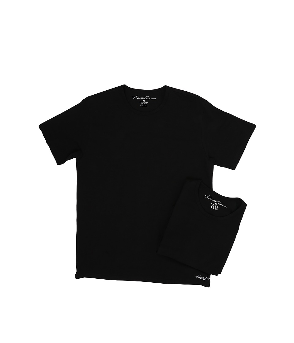 Kenneth Cole Reaction - Crew Neck Super Fine Cotton Tee - 2-Pack (Black) Men's T Shirt