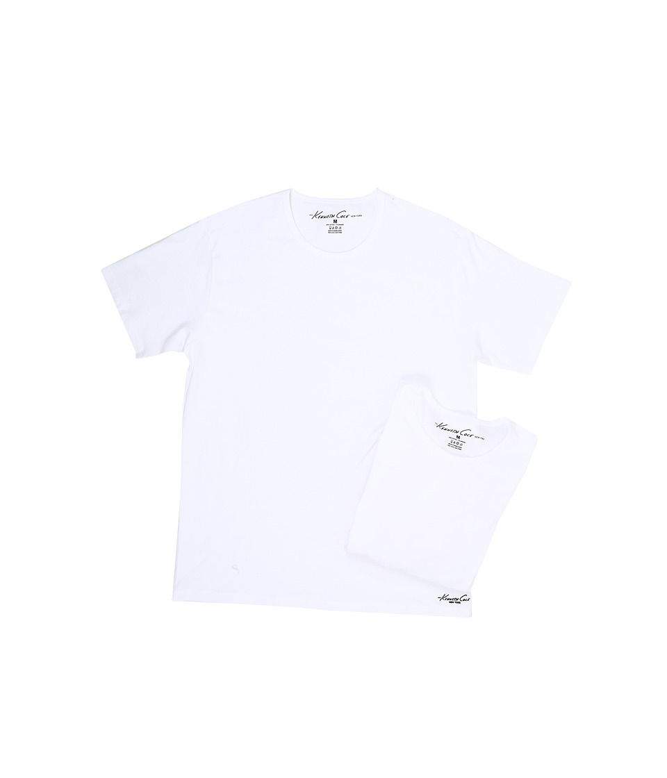 Kenneth Cole Reaction - Crew Neck Super Fine Cotton Tee - 2-Pack (White) Men's T Shirt