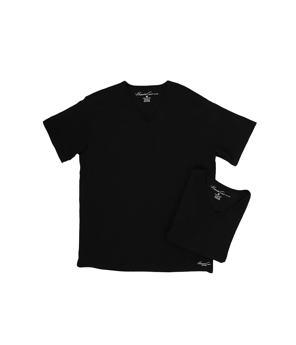 Kenneth Cole Reaction - V-Neck Super Fine Cotton Tee - 2-Pack (Black) Men's T Shirt