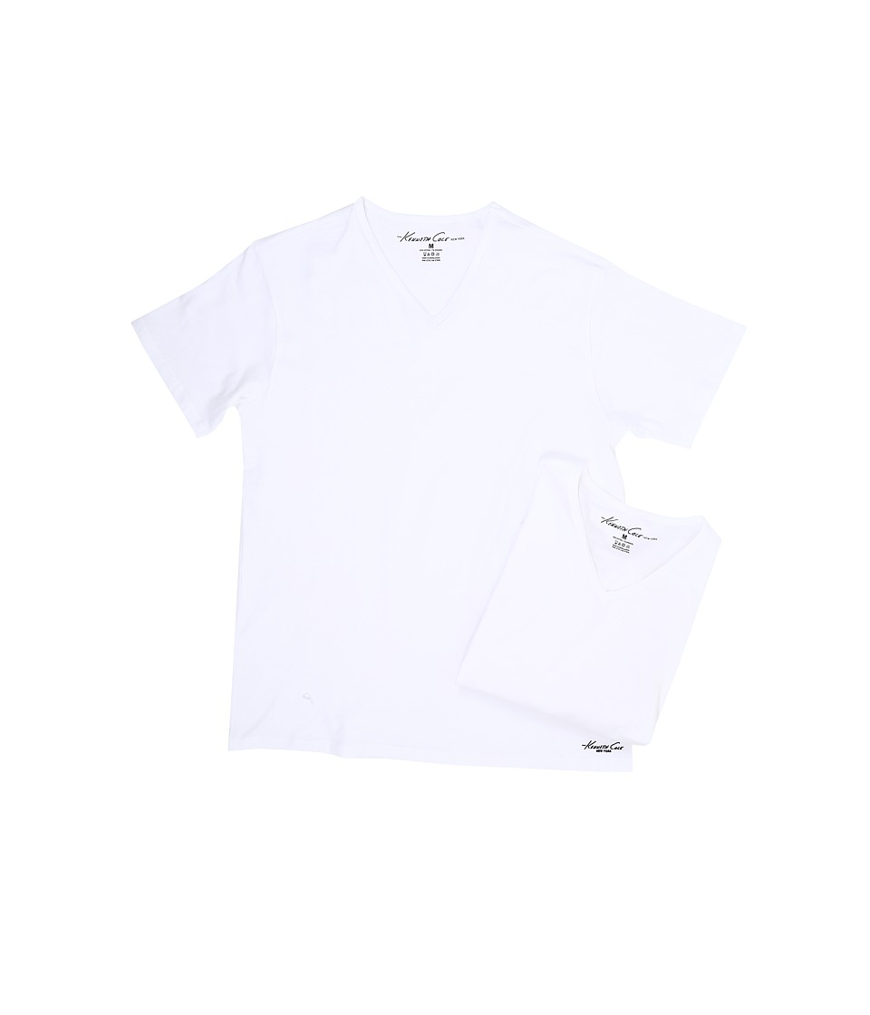 Kenneth Cole Reaction - V-Neck Super Fine Cotton Tee - 2-Pack (White) Men's T Shirt