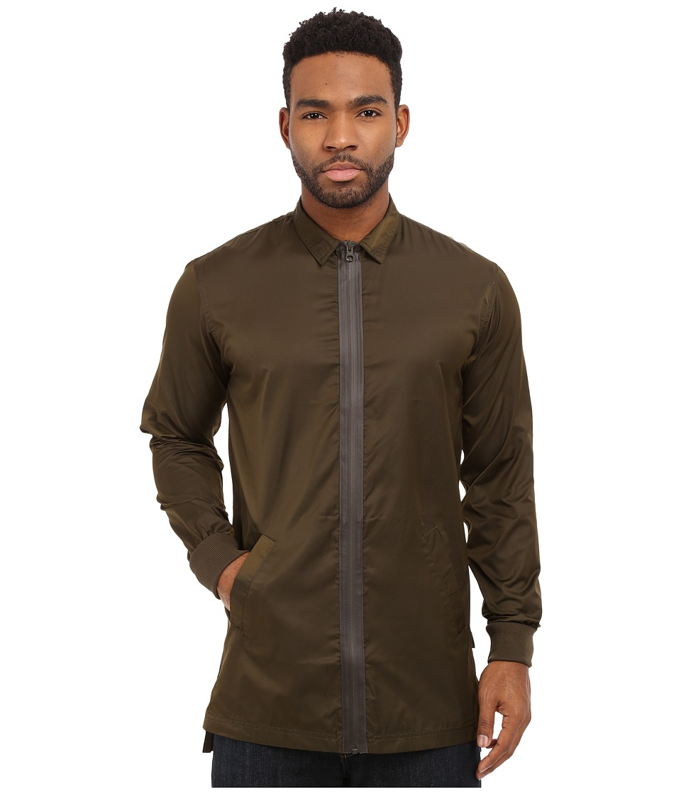 Publish - Carato - Coated Nylon Woven Long Sleeve Zip-Up (Olive) Men's Clothing