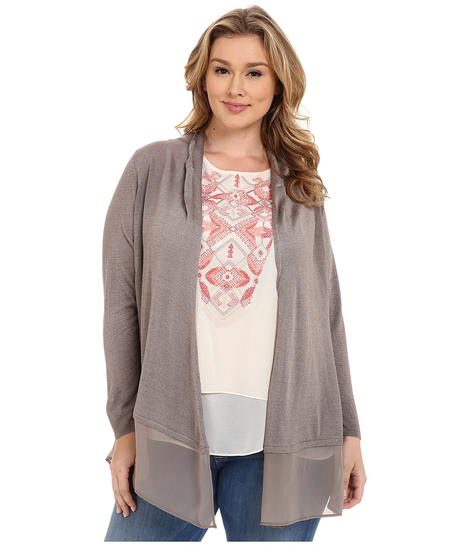 NIC+ZOE - Plus Size Chiffon Trim Cardy (Mushroom) Women's Sweater