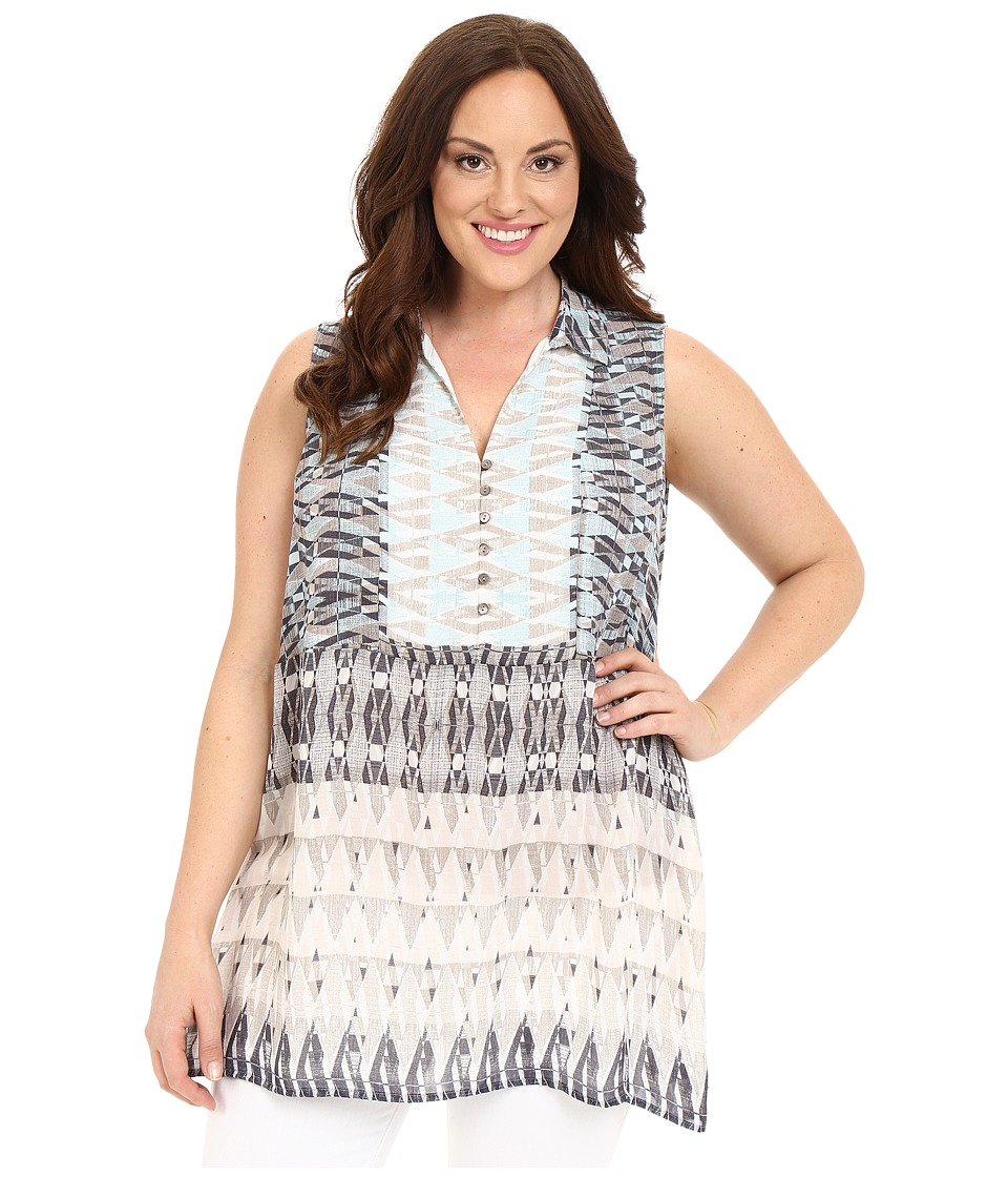 NIC+ZOE - Plus Size Mosaic Tunic Layer (Multi) Women's Blouse plus size,  plus size fashion plus size appare