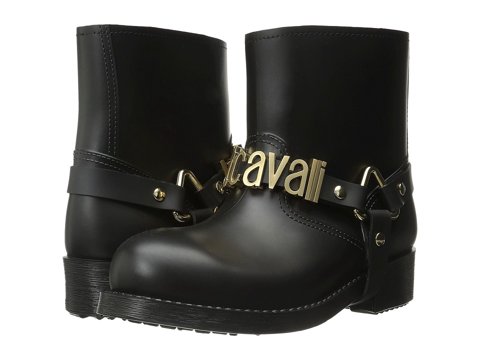Just Cavalli Rubber Rain Boot w/ Sliding Logo (Black) Women