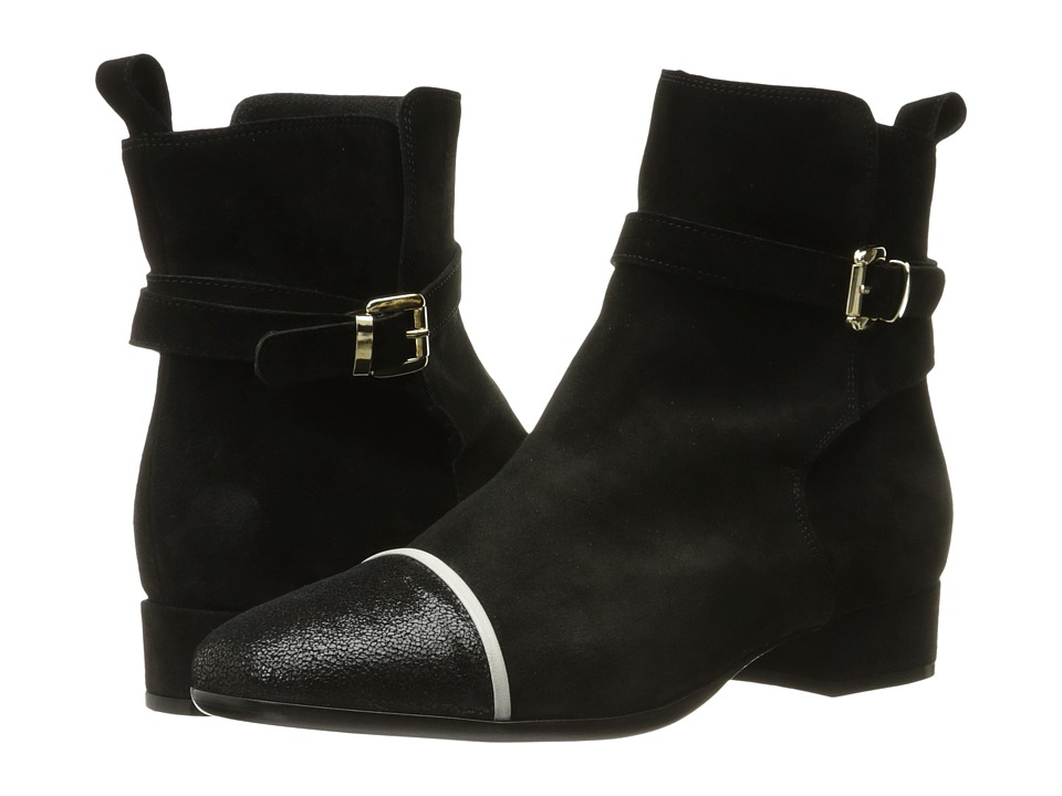 Just Cavalli - Laminated Crackle Low Heel Ankle Bootie (Black) Women's Boots