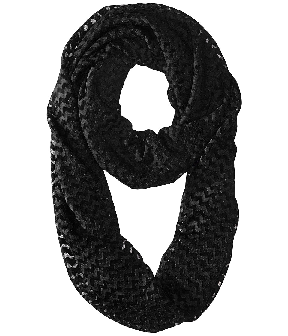 Steve Madden - Mini Chevro Burnout Infinity (Black) Scarves