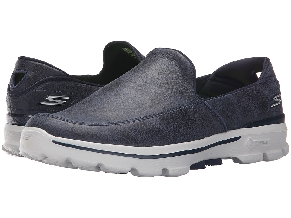 SKECHERS Performance - Go Walk 3 - Suitable (Navy/Gray) Men's Slip on Shoes