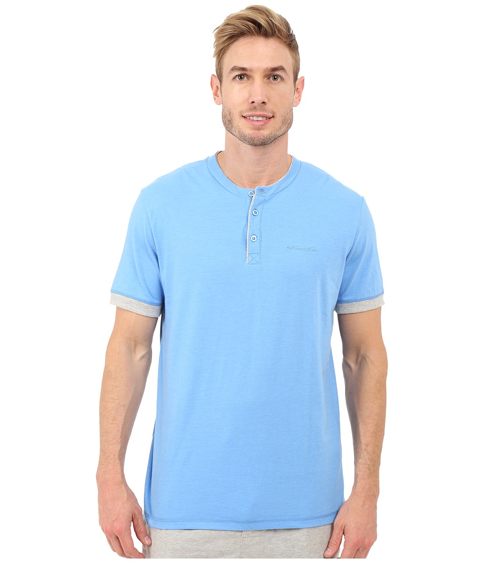 Kenneth Cole Reaction - Henry Neck T-Shirt (Marine Blue Heather/Light Grey Heather) Men's T Shirt