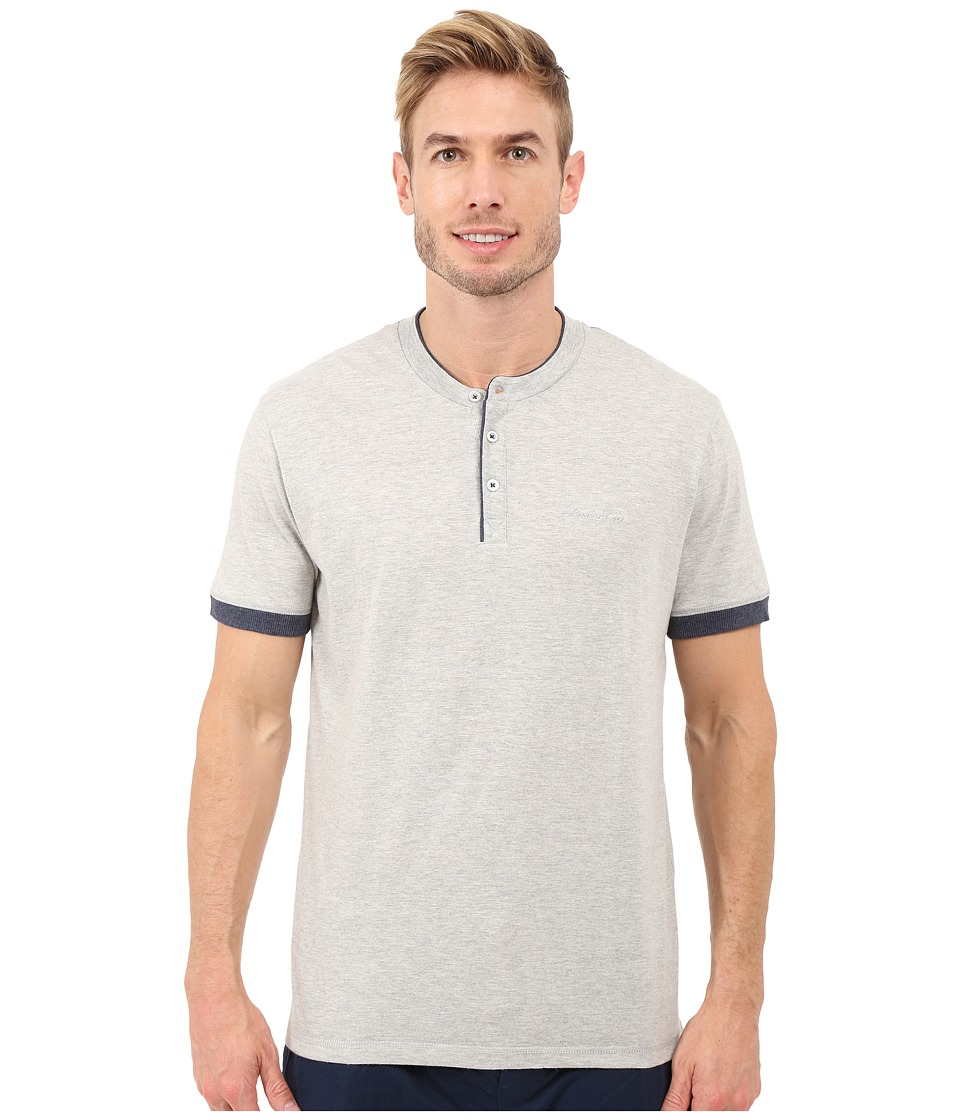 Kenneth Cole Reaction - Henry Neck T-Shirt (Light Heather Grey/Black Iris) Men's T Shirt