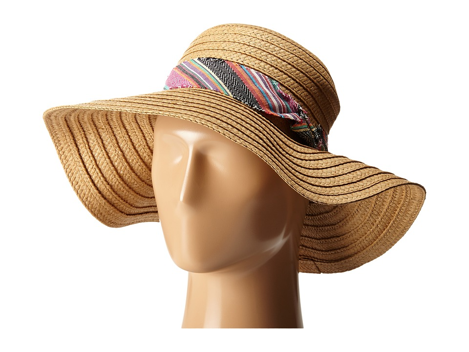 Steve Madden - Floppy Hat with Freyed Fabric Band (Multi) Caps