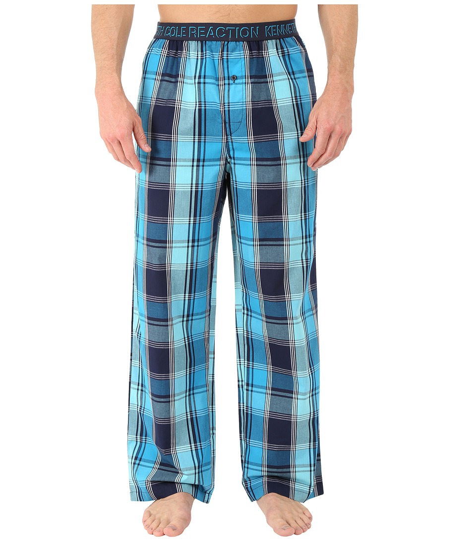 Kenneth Cole Reaction - Woven Pants (Marine Blue Chantham Plaid) Men