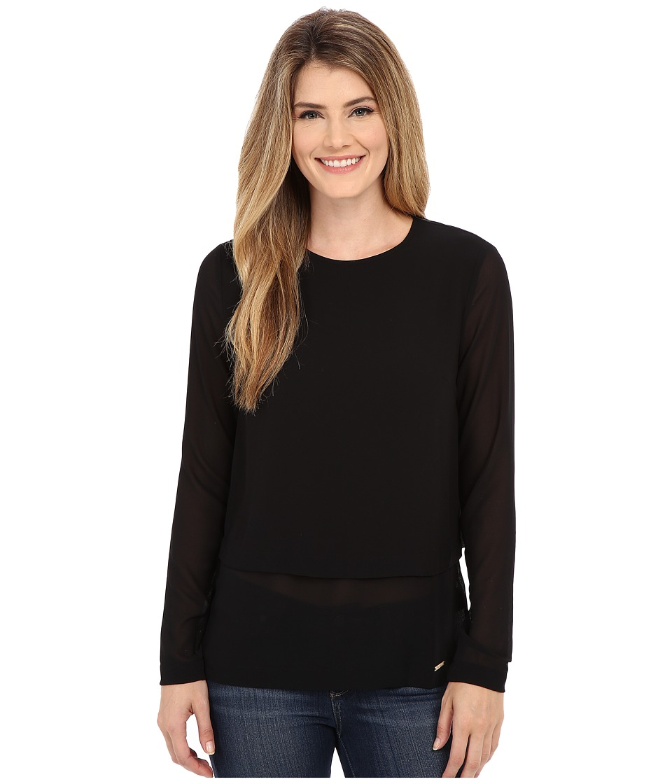 MICHAEL Michael Kors - Long Sleeve Double Layer Short Sleeve Top (Black) Women's Blouse