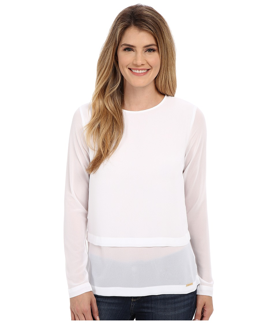 MICHAEL Michael Kors - Long Sleeve Double Layer Short Sleeve Top (White) Women's Blouse