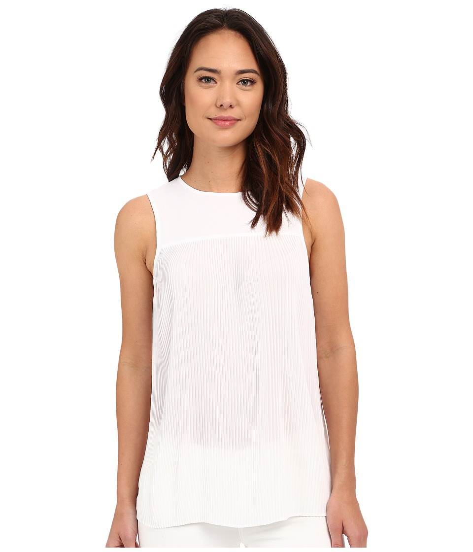 MICHAEL Michael Kors - Solid Pleated Top (White) Women's Clothing