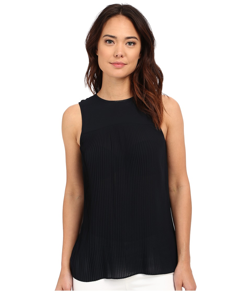 MICHAEL Michael Kors - Solid Pleated Top (New Navy) Women's Clothing