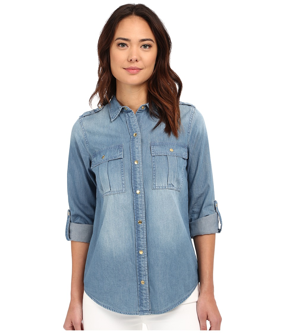 MICHAEL Michael Kors - Military Denim Shirt (Light Cadet Wash) Women