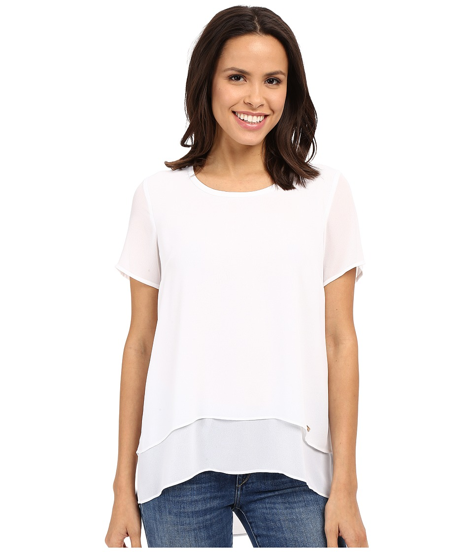 MICHAEL Michael Kors - Back Cut Out Short Sleeve Top (White) Women's Blouse