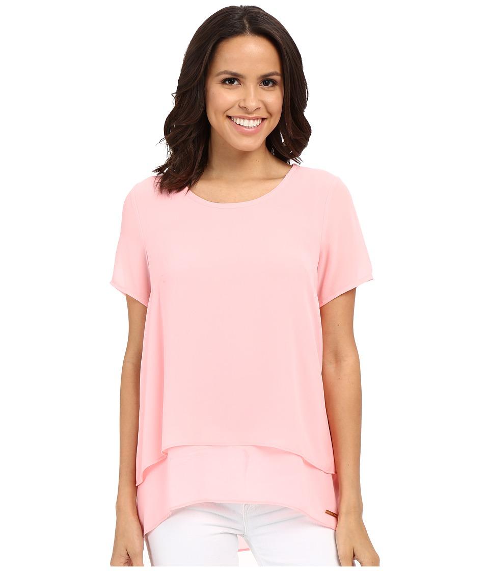 MICHAEL Michael Kors - Back Cut Out Short Sleeve Top (Peach Blossom) Women's Blouse