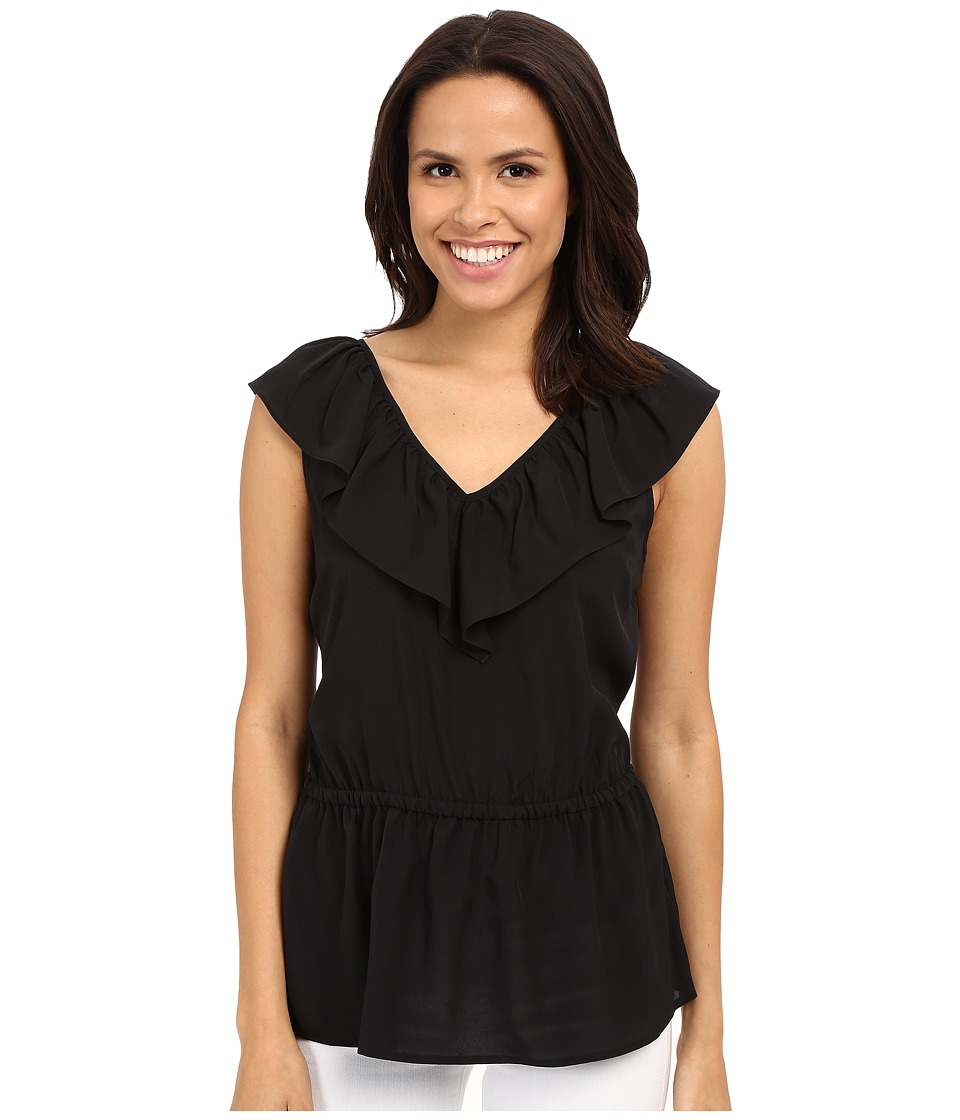 MICHAEL Michael Kors - V-Neck Ruffle Top (Black) Women's Blouse