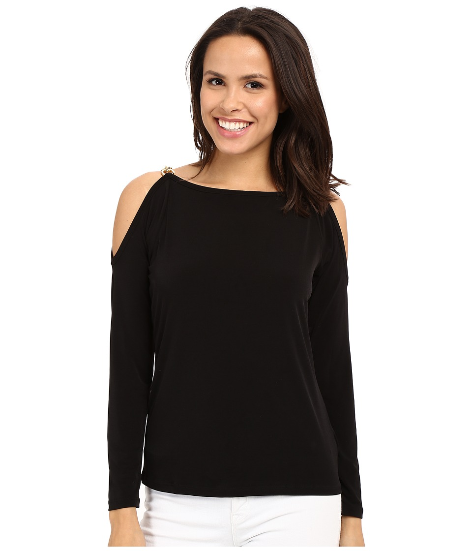 MICHAEL Michael Kors - Oval Link Cold Shoulder Top (Black) Women