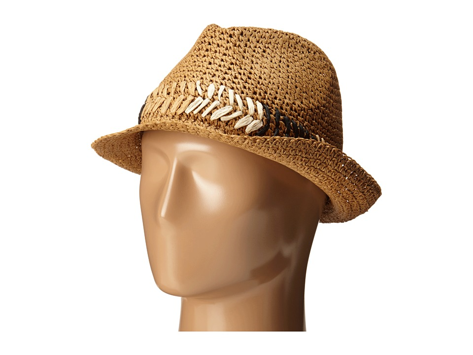 Steve Madden - Fedora with Cehvron Band (Natural) Fedora Hats