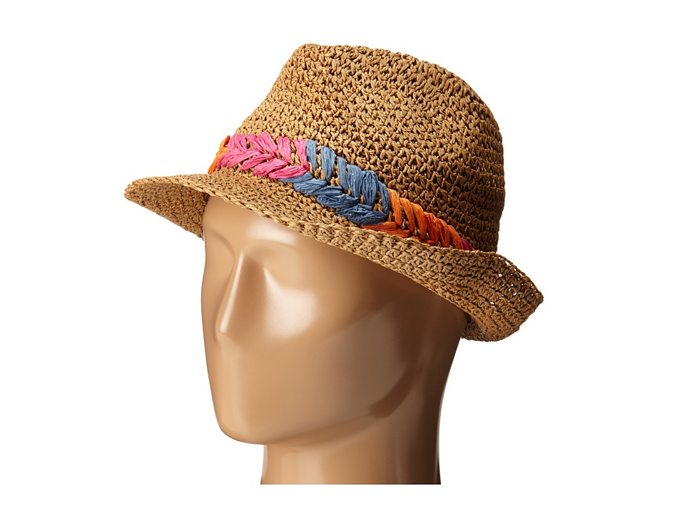 Steve Madden - Fedora with Cehvron Band (Natural/Multi) Fedora Hats