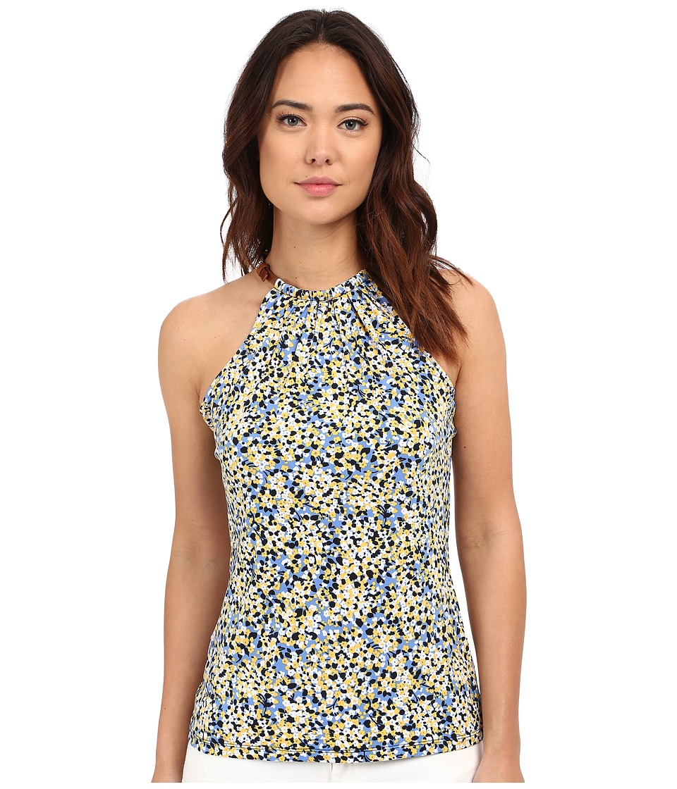 MICHAEL Michael Kors - Leather Trim Neck Halter Top (Sunflower/Crew Blue) Women's Clothing