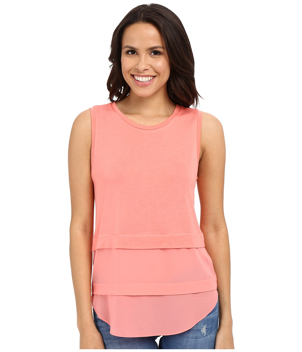 MICHAEL Michael Kors - Sleeveless Crew Woven Mix Top (Caribbean Pink) Women's Sleeveless