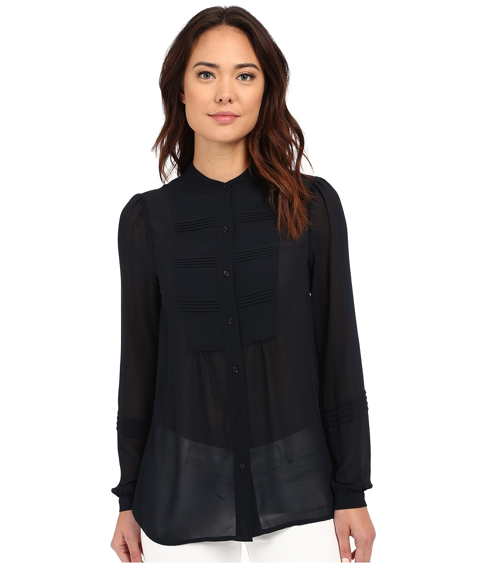 MICHAEL Michael Kors - Pin Tuck Top (New Navy) Women's Long Sleeve Button Up