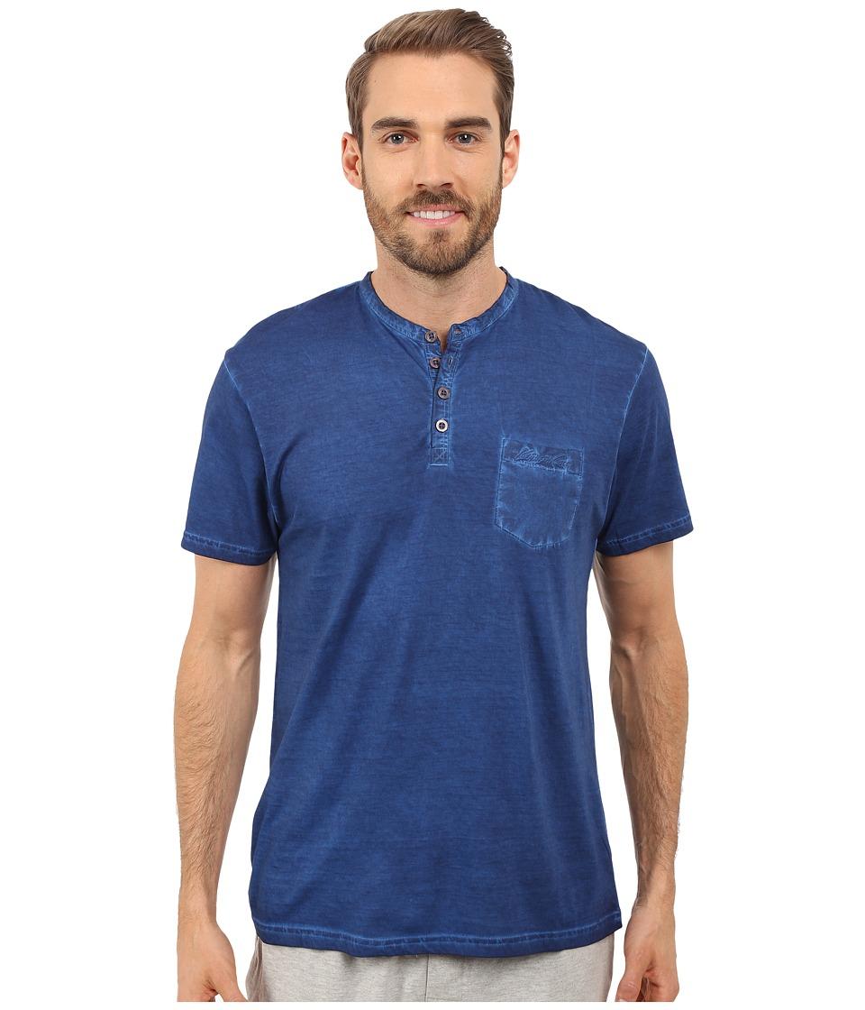 Kenneth Cole Reaction - Henley Neck T-Shirt (Dark Blue) Men's T Shirt