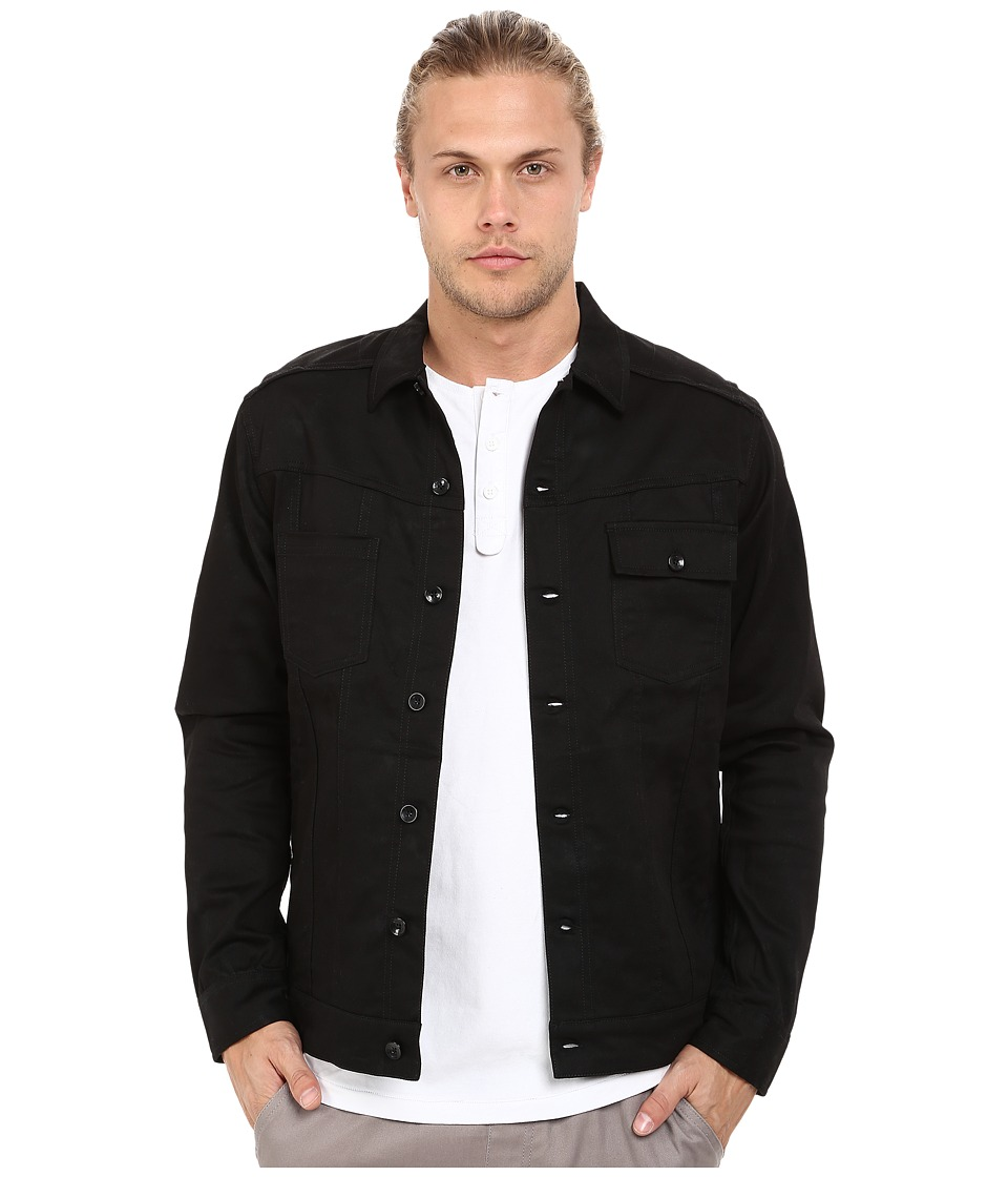 Publish - Sander - Marble Printed Stretch Twill Rider's Style Jacket (Black) Men's Coat