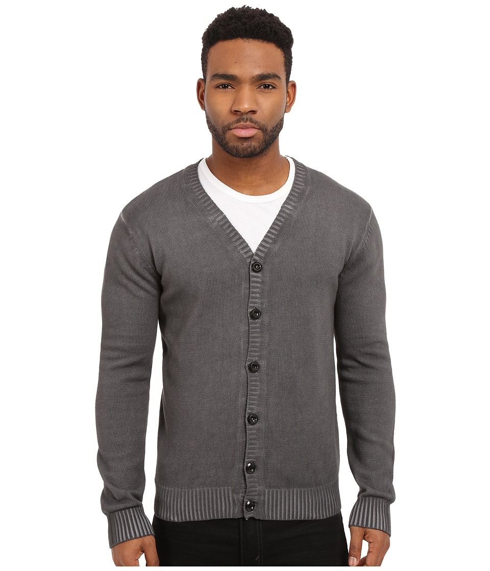 Publish - Casimir - Fashion Cardigan with Pigmented Oil Wash (Black) Men's Sweater