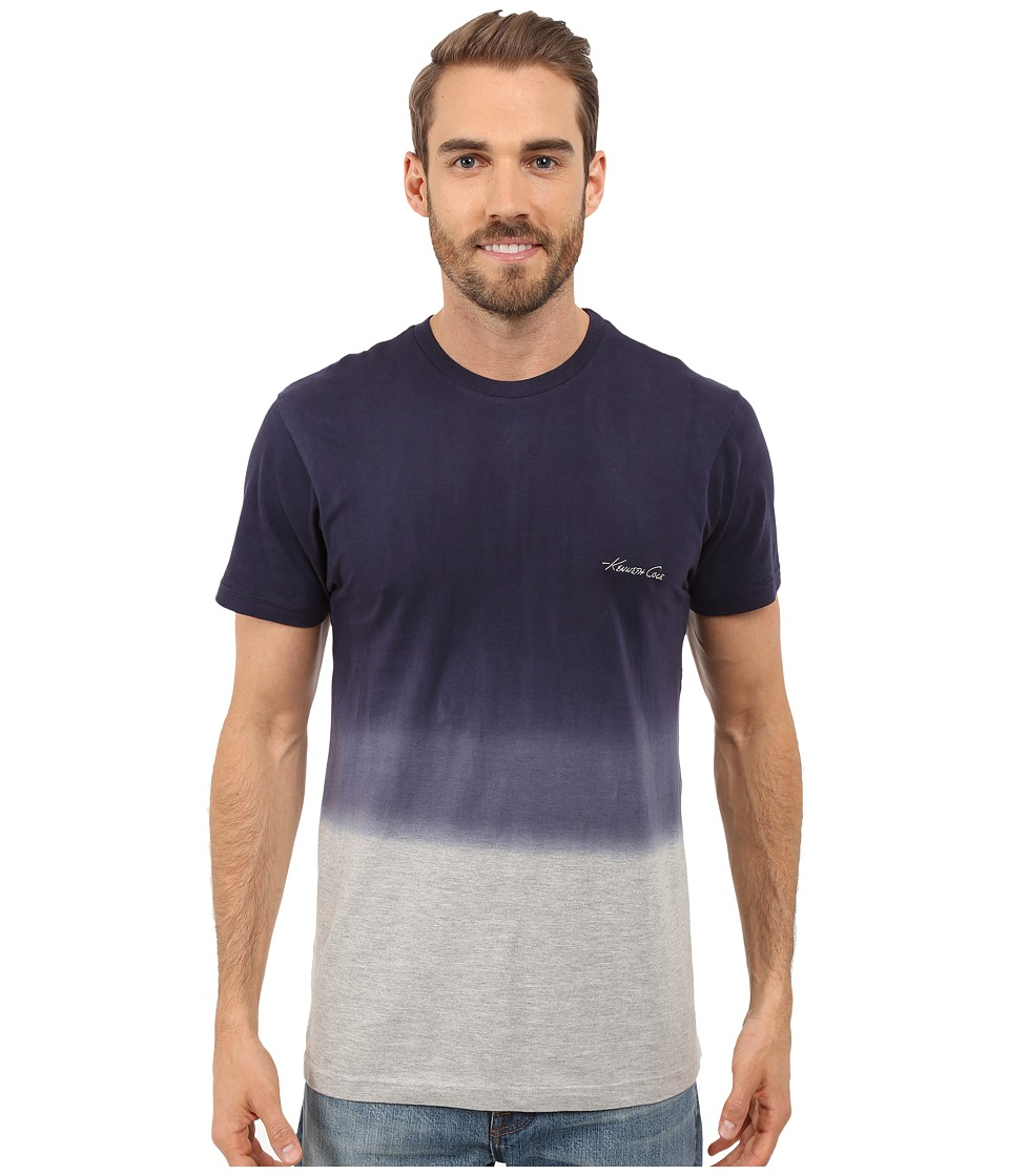 Kenneth Cole Reaction - Dip Dye T-Shirt (Light Heather Grey/Navy Dip Dye) Men's T Shirt