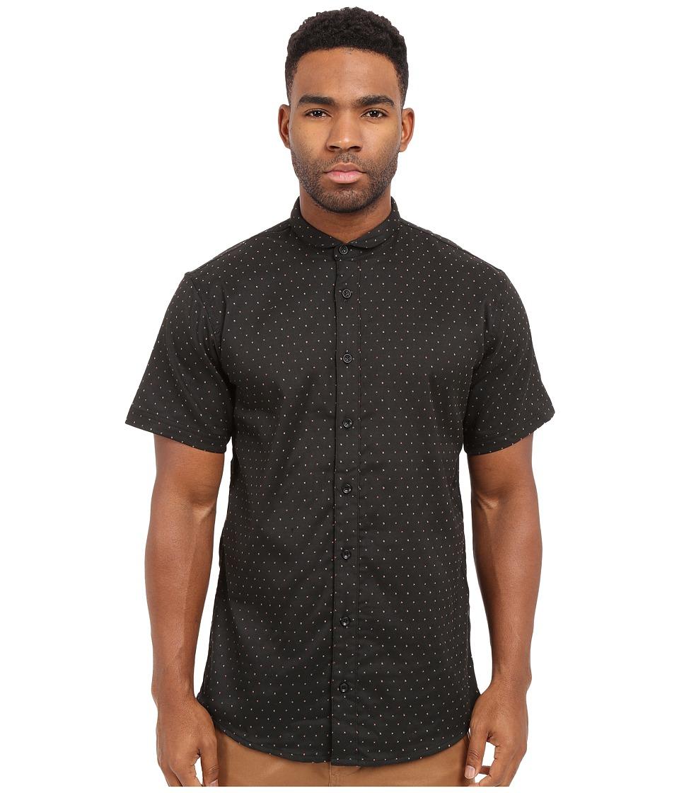 Publish - Valerio - Jacquard Speckled Short Sleeve Woven (Black) Men's Clothing