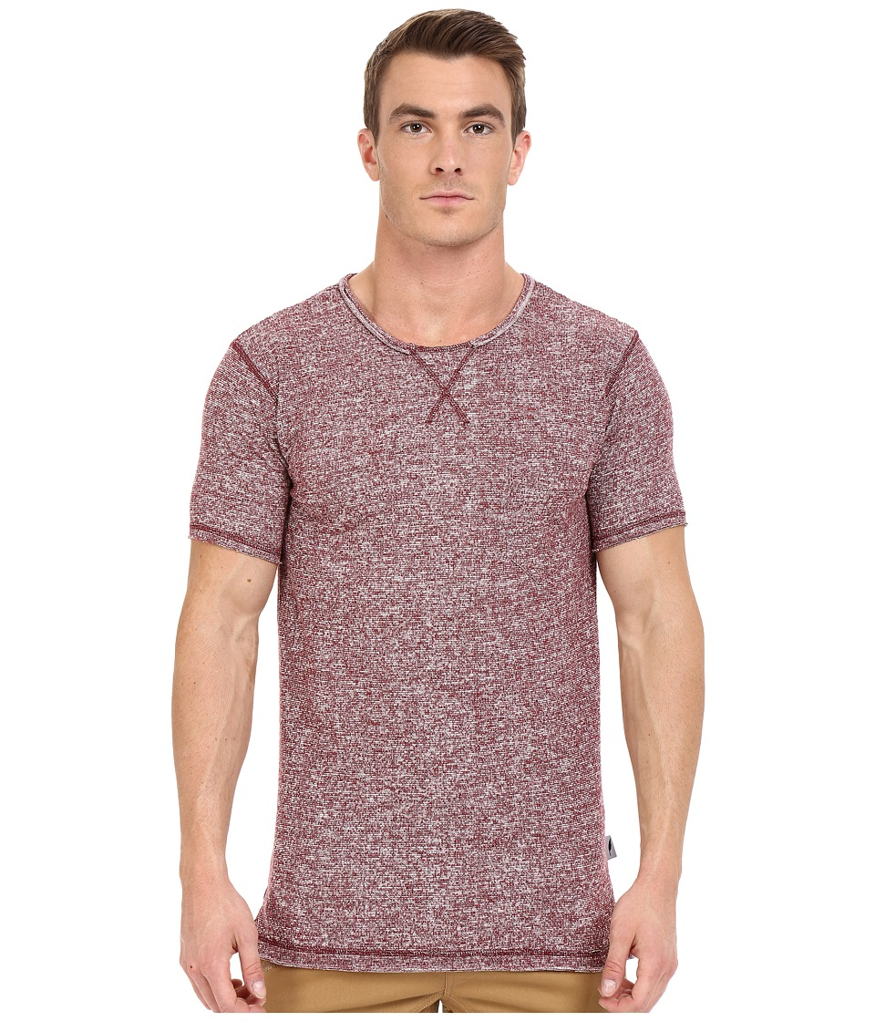 Publish - Janek - Heathered Terry Short Sleeve Tee Elongated with Side Split Hem (Maroon) Men's T Shirt