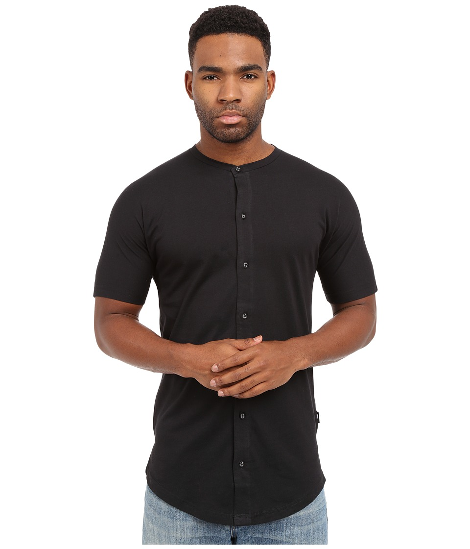 Publish - Malachy - Cotton Knit Seamless Short Sleeve Button Up Tee with Side Split Hem (Black) Men's T Shirt