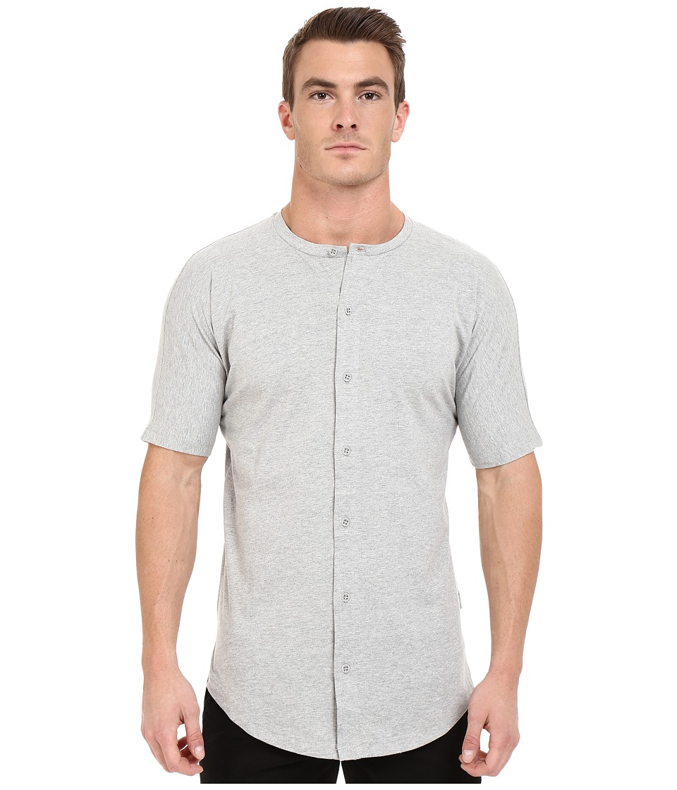 Publish - Malachy - Cotton Knit Seamless Short Sleeve Button Up Tee with Side Split Hem (Heather) Men's T Shirt