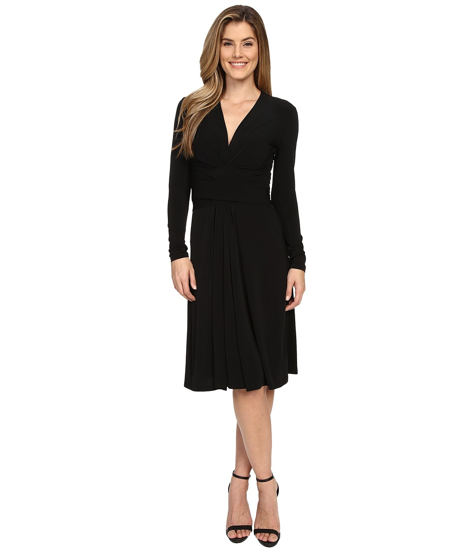 MICHAEL Michael Kors - Long Sleeve Faux Wrap Dress (Black) Women's Dress