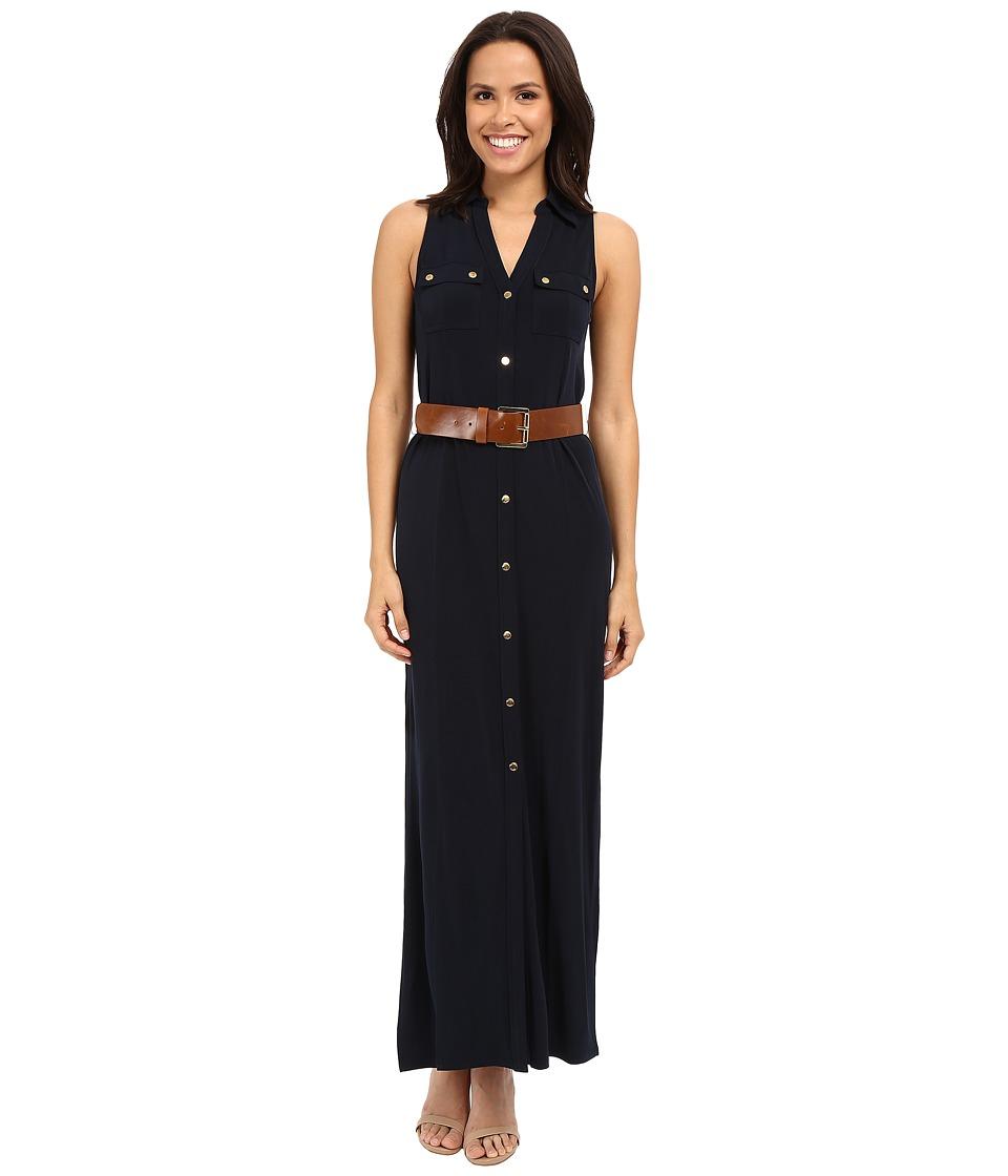 MICHAEL Michael Kors - Matte Jersey Sleeveless Maxi Shirtdress (New Navy) Women's Dress