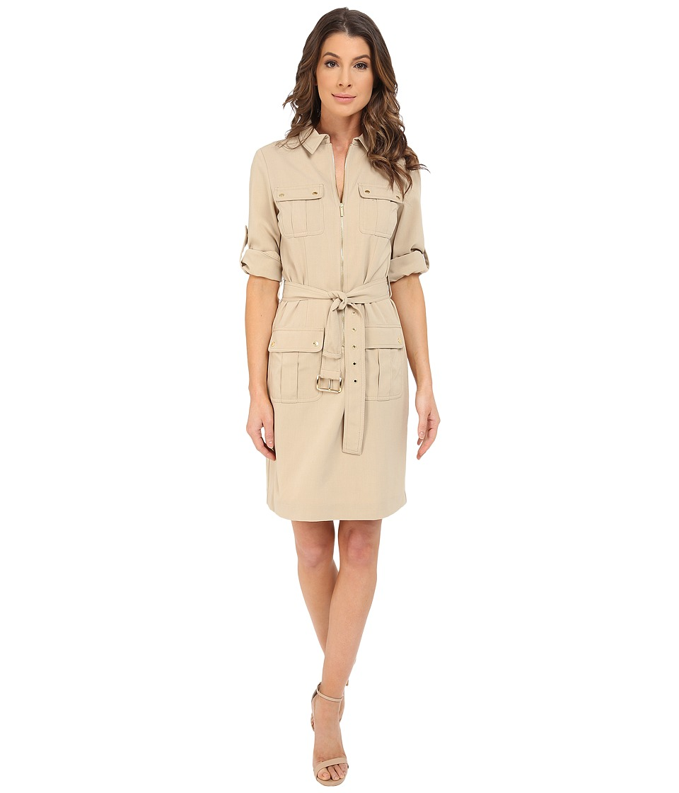 MICHAEL Michael Kors - Roll Sleeve Belted Shirt Woven Dress (Khaki) Women's Dress