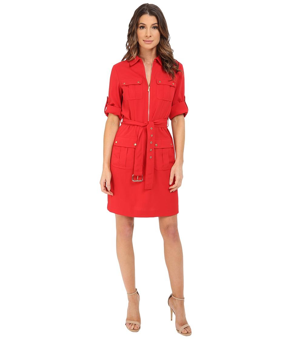 MICHAEL Michael Kors - Roll Sleeve Belted Shirt Woven Dress (True Red) Women's Dress