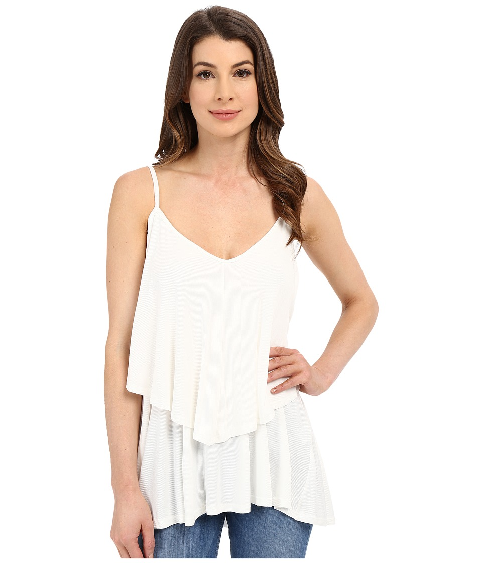 Rachel Pally - Rib Ruffle Top (White) Women's Sleeveless