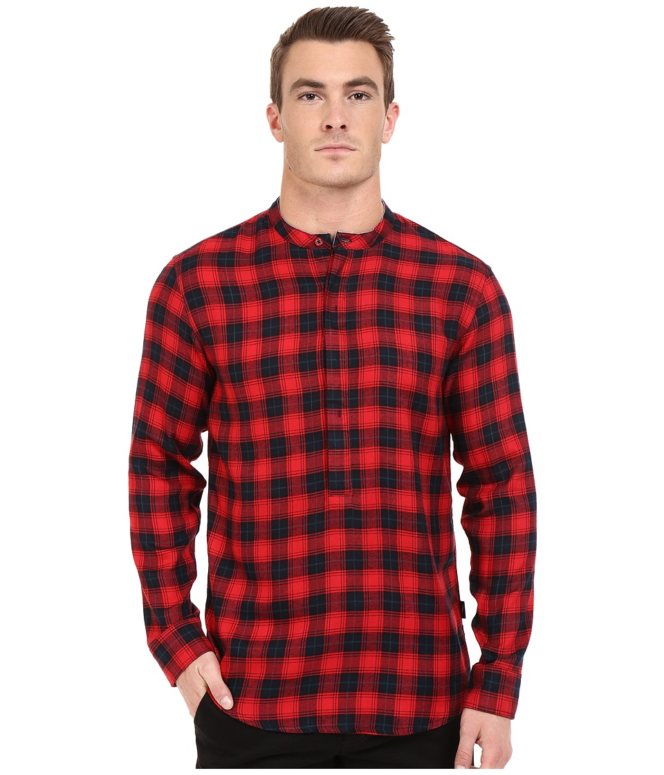 Publish - Seann - Brushed Plaid Popover Woven (Red) Men's Clothing