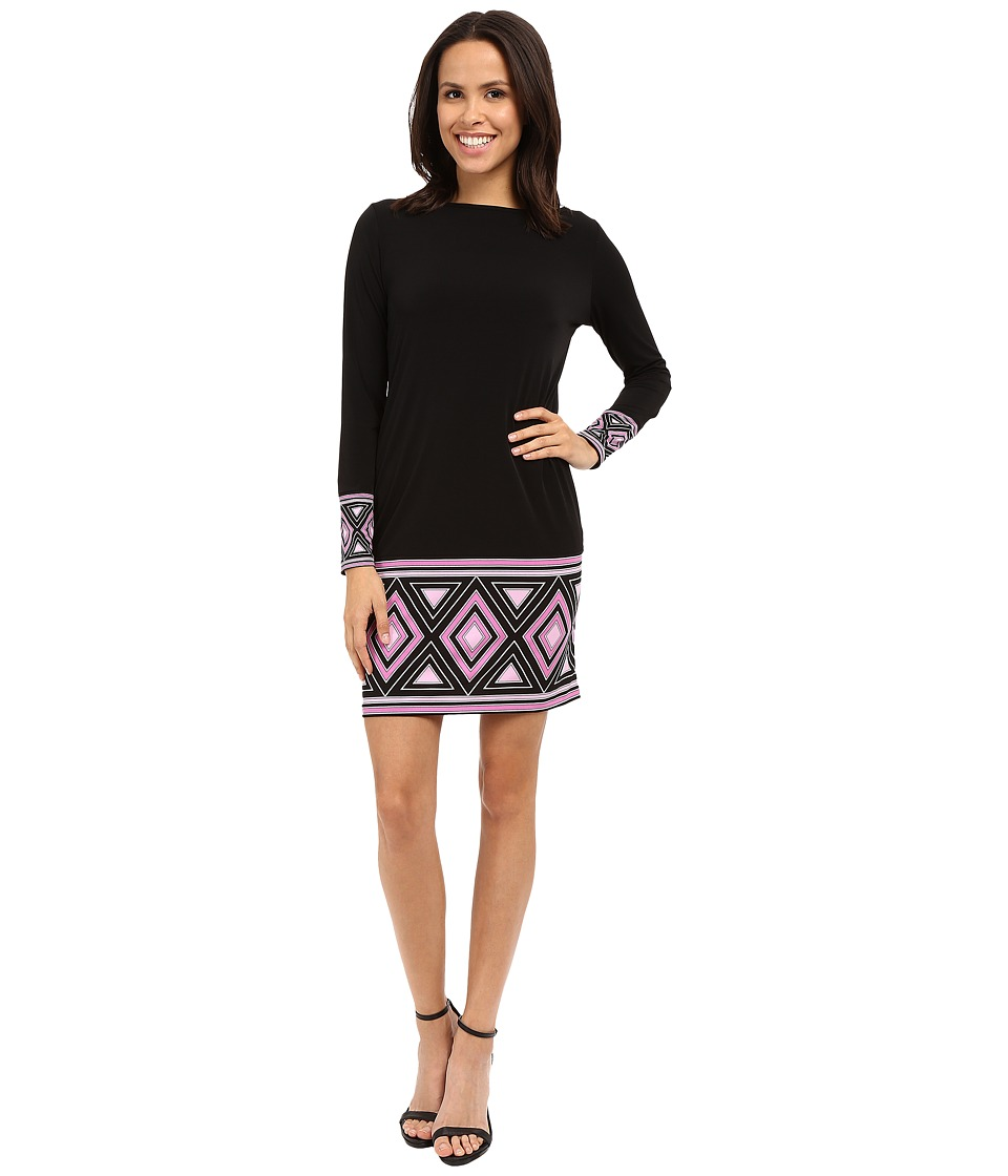 MICHAEL Michael Kors - Boat Neck Long Sleeve Border Dress (Plum Blossom) Women's Dress