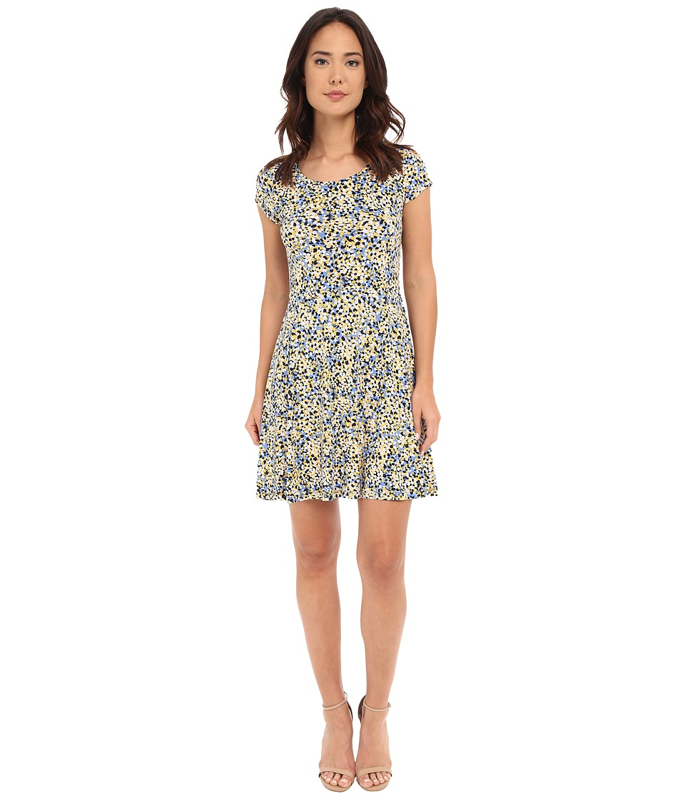 MICHAEL Michael Kors - Chilling Cap Flare Dress (Sunflower/Crew Blue) Women's Dress