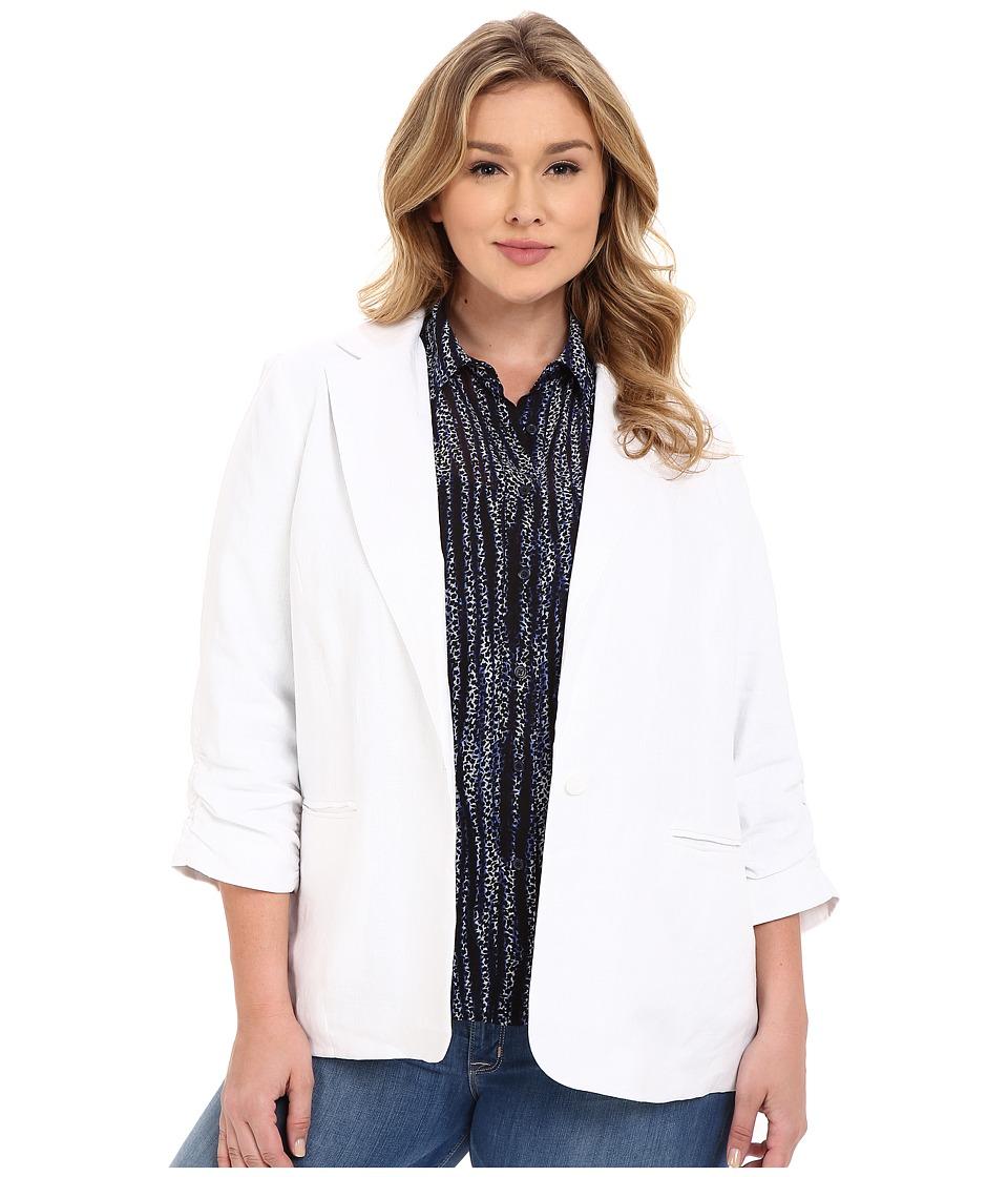 MICHAEL Michael Kors Plus Size Linen Shired Boyfriend Jacket (White) Women